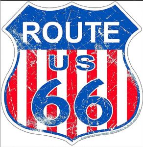 Route 66 Shield, US stripes metal sign  (sf)